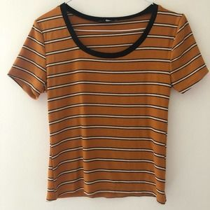 Charlotte Russe Orange Stripped Top size S